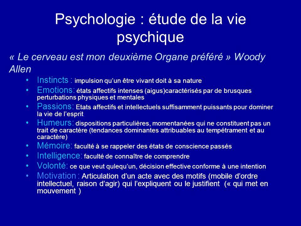Psychologie : étude de la vie psychique