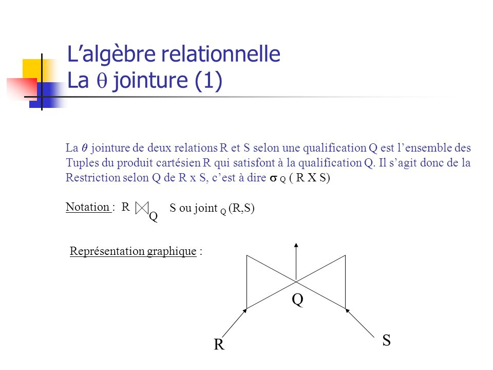 L'algèbre relationnelle La q jointure (1)