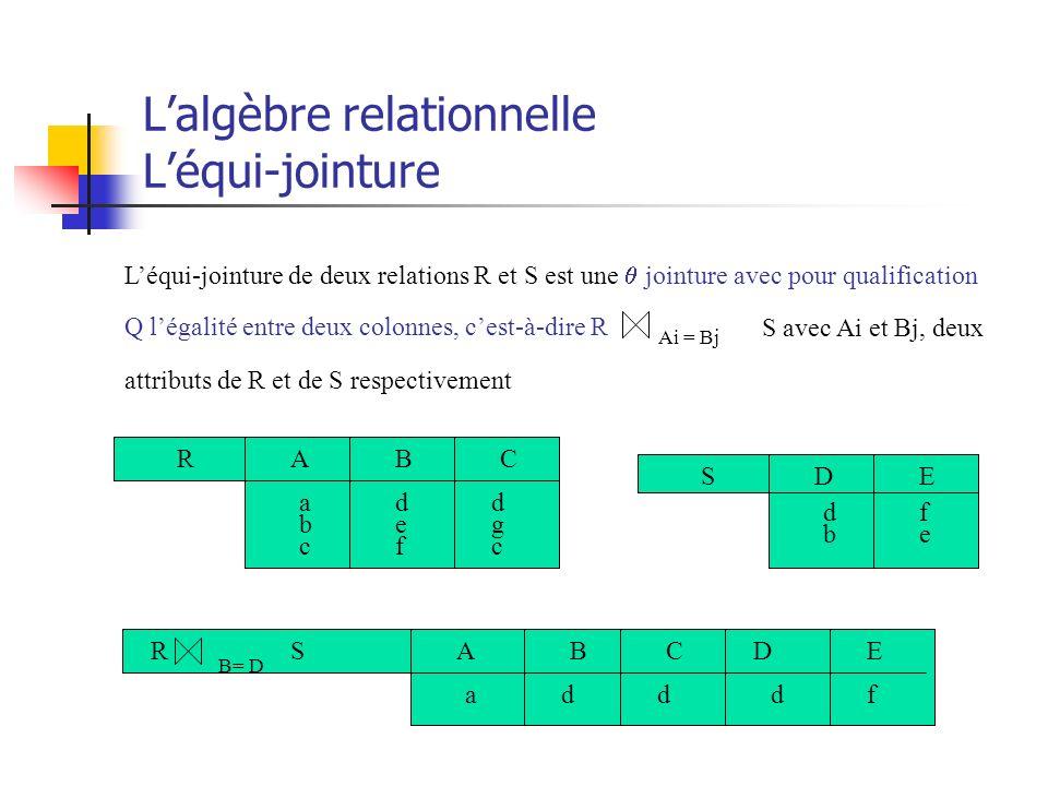 L'algèbre relationnelle L'équi-jointure