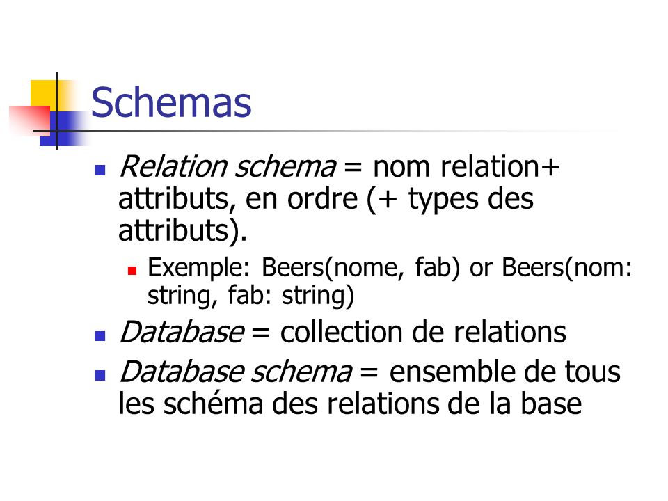 Schemas Relation schema = nom relation+ attributs, en ordre (+ types des attributs). Exemple: Beers(nome, fab) or Beers(nom: string, fab: string)