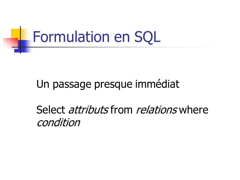 Formulation en SQL Un passage presque immédiat