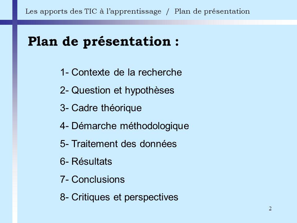 Plan de présentation : 1- Contexte de la recherche