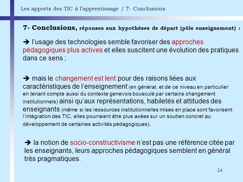 Les apports des TIC à l'apprentissage / 7- Conclusions