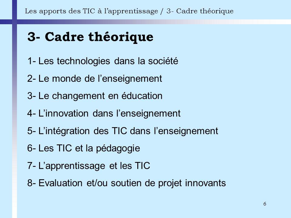 3- Cadre théorique 1- Les technologies dans la société
