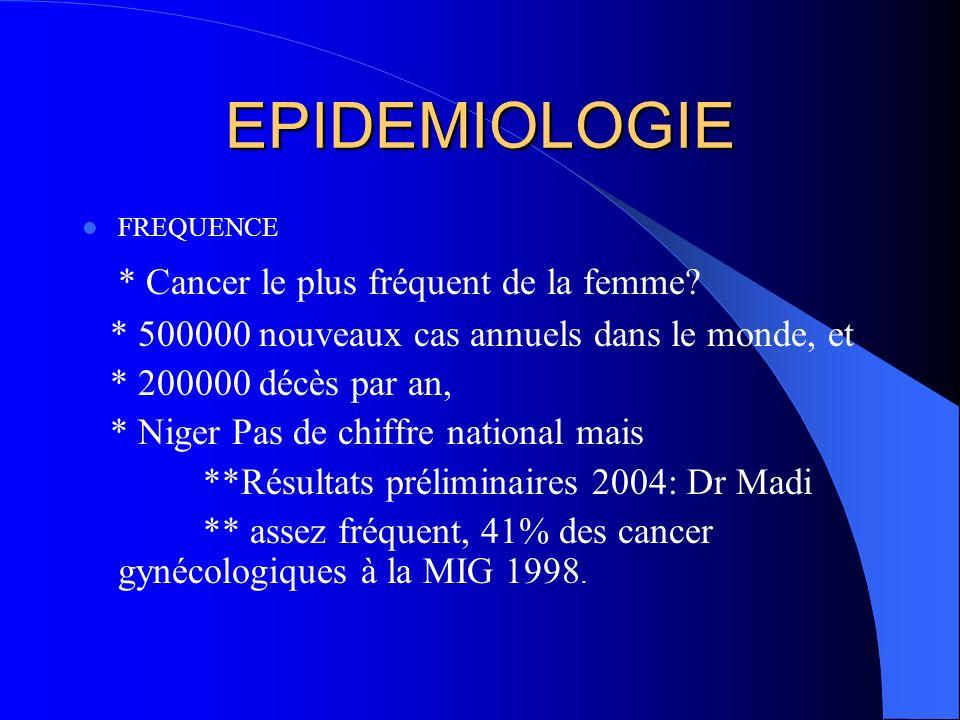 EPIDEMIOLOGIE * Cancer le plus fréquent de la femme