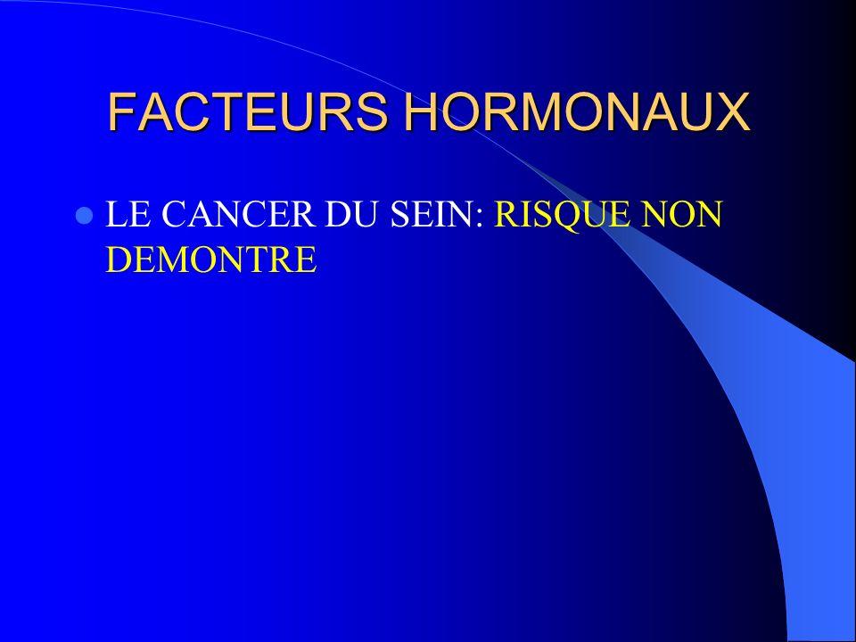 FACTEURS HORMONAUX LE CANCER DU SEIN: RISQUE NON DEMONTRE