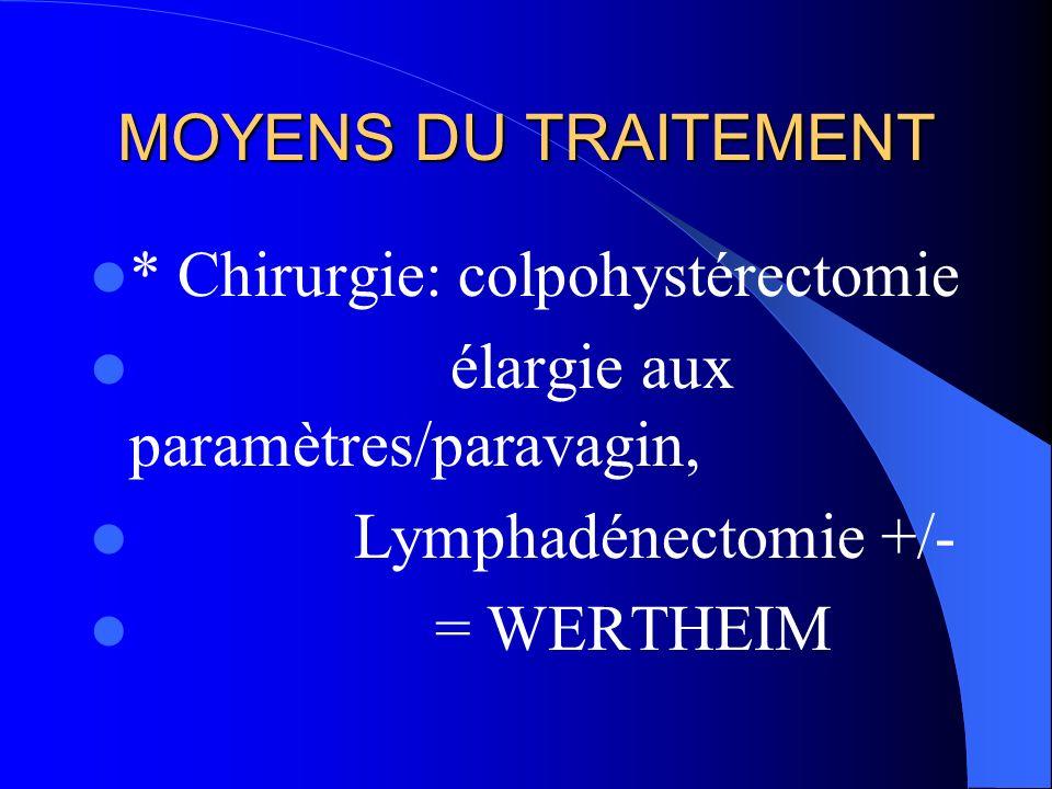 MOYENS DU TRAITEMENT * Chirurgie: colpohystérectomie. élargie aux paramètres/paravagin, Lymphadénectomie +/-