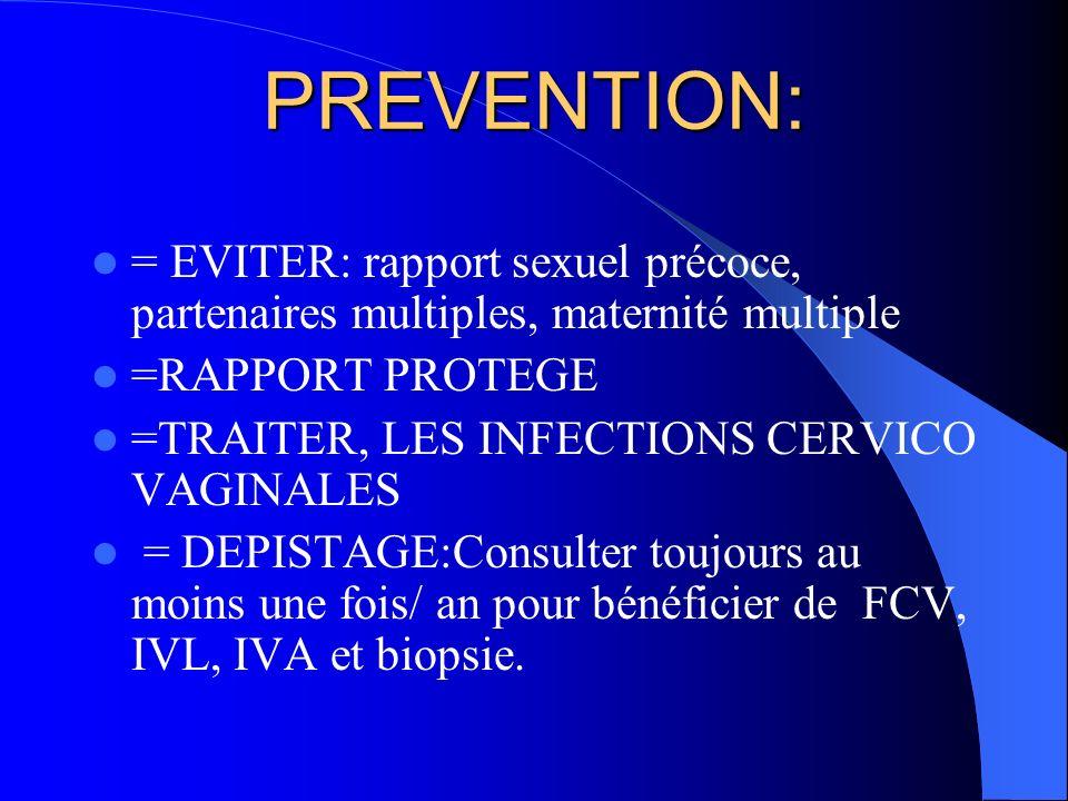 PREVENTION: = EVITER: rapport sexuel précoce, partenaires multiples, maternité multiple. =RAPPORT PROTEGE.