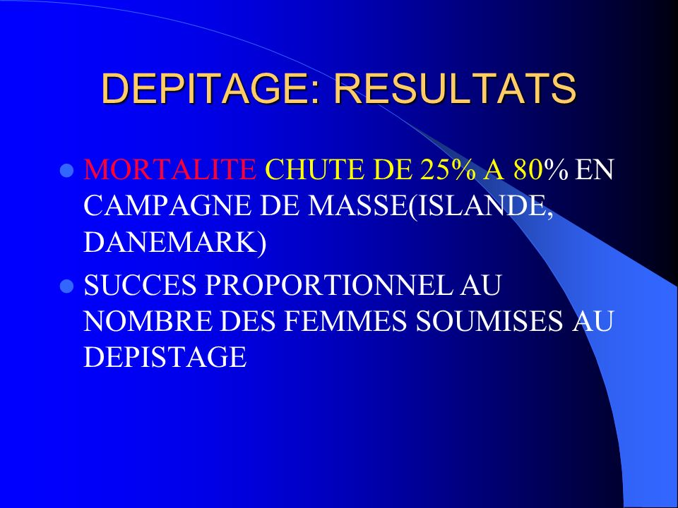 DEPITAGE: RESULTATS MORTALITE CHUTE DE 25% A 80% EN CAMPAGNE DE MASSE(ISLANDE, DANEMARK)