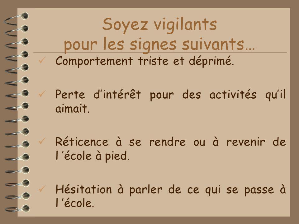 Soyez vigilants pour les signes suivants…