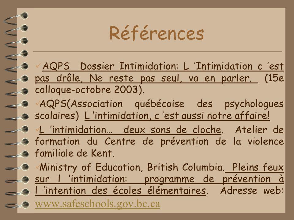 Références AQPS Dossier Intimidation: L 'Intimidation c 'est pas drôle, Ne reste pas seul, va en parler. (15e colloque-octobre 2003).