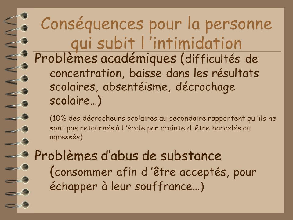 Conséquences pour la personne qui subit l 'intimidation