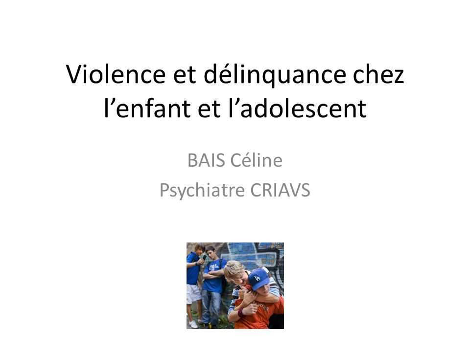 Violence et délinquance chez l'enfant et l'adolescent