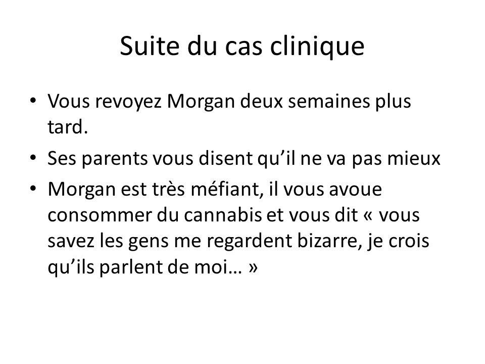 Suite du cas clinique Vous revoyez Morgan deux semaines plus tard.