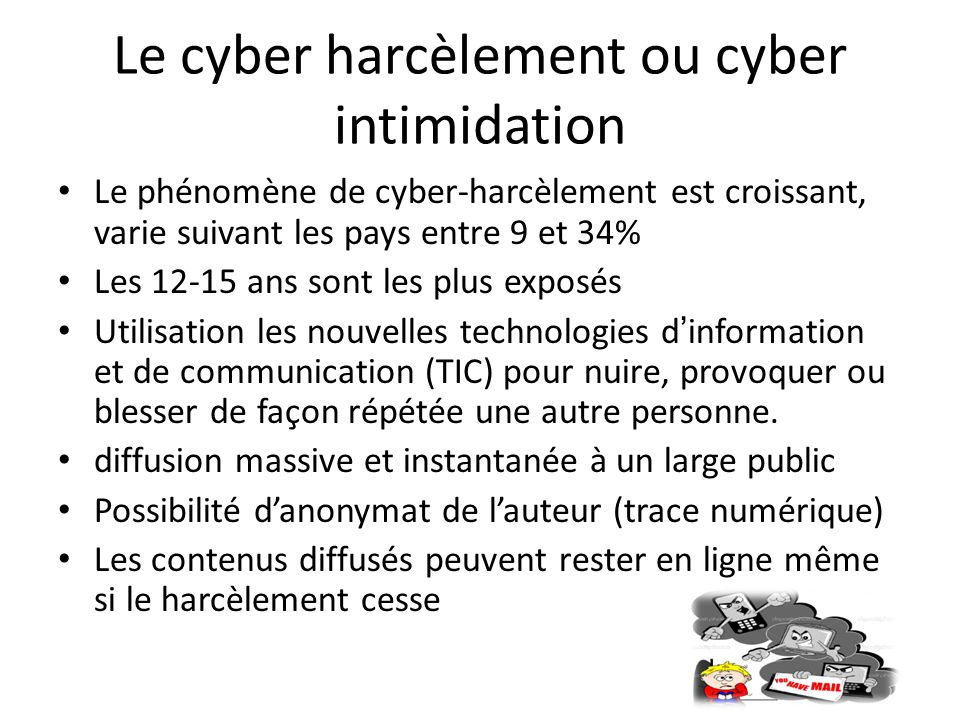 Le cyber harcèlement ou cyber intimidation