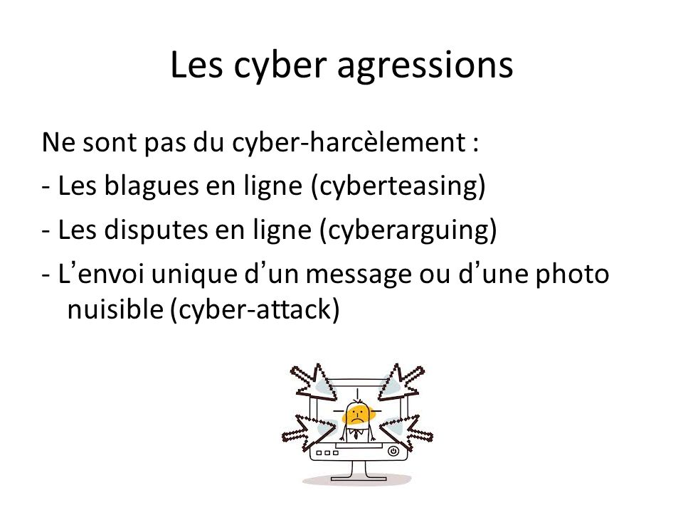 Les cyber agressions Ne sont pas du cyber-harcèlement :