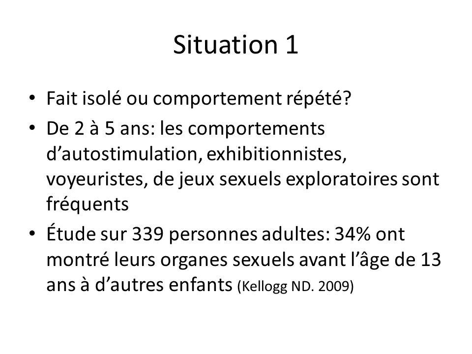Situation 1 Fait isolé ou comportement répété