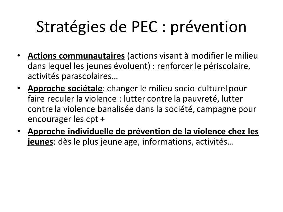 Stratégies de PEC : prévention