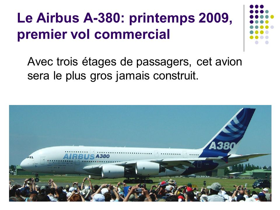 Le Airbus A-380: printemps 2009, premier vol commercial