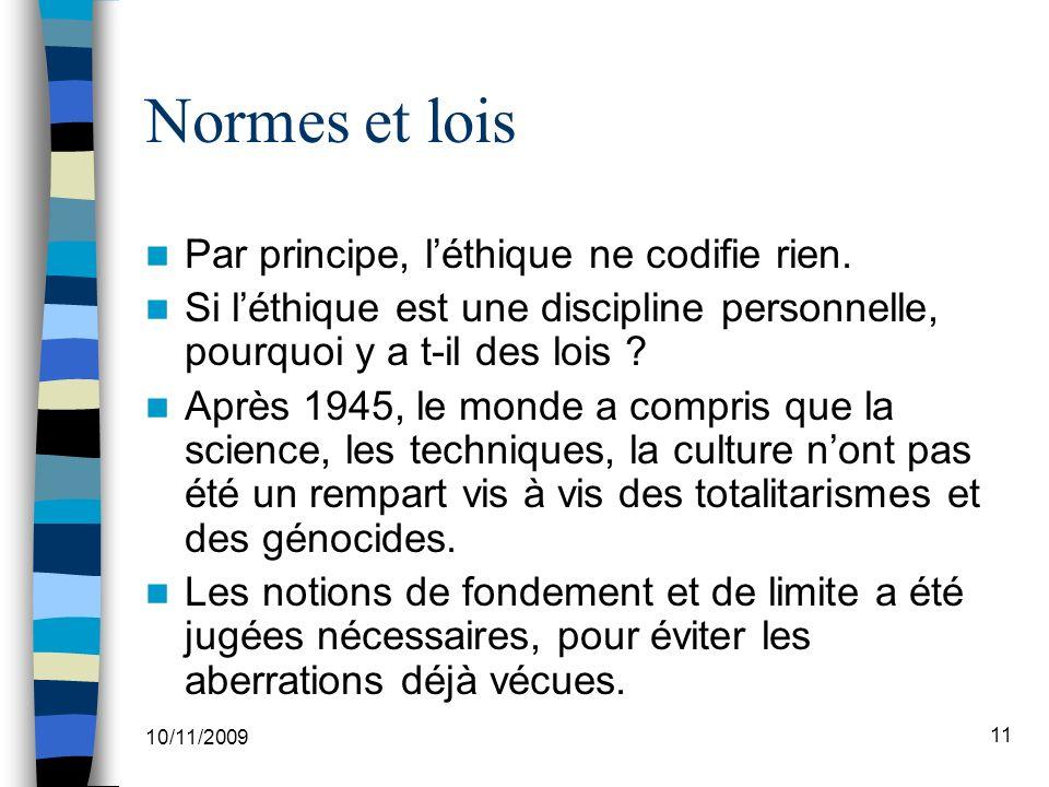 Normes et lois Par principe, l'éthique ne codifie rien.
