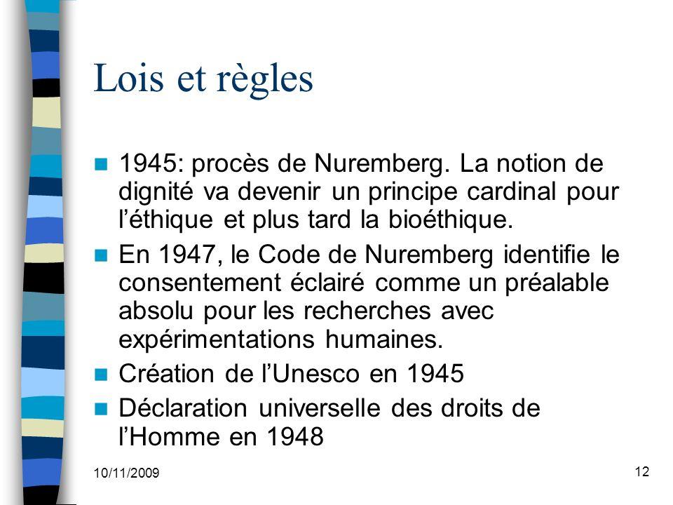 Lois et règles 1945: procès de Nuremberg. La notion de dignité va devenir un principe cardinal pour l'éthique et plus tard la bioéthique.