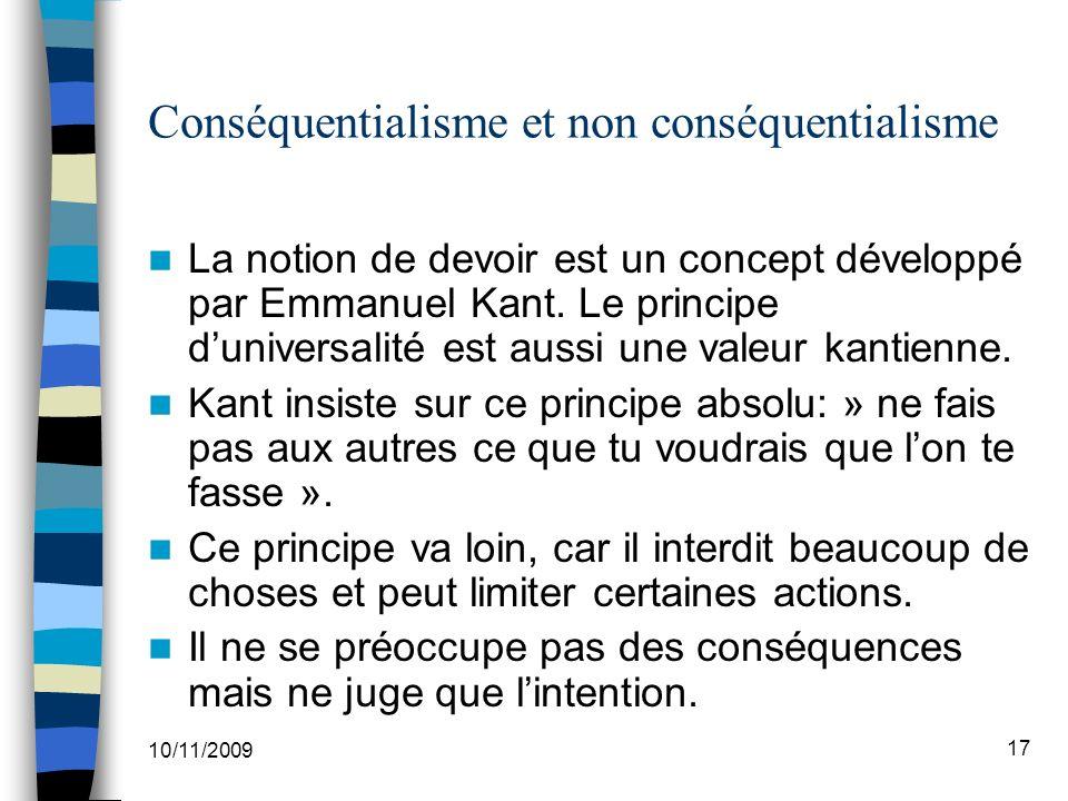 Conséquentialisme et non conséquentialisme