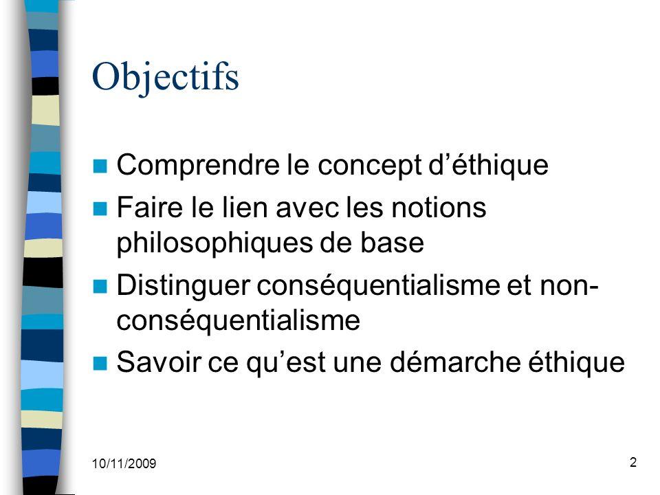 Objectifs Comprendre le concept d'éthique