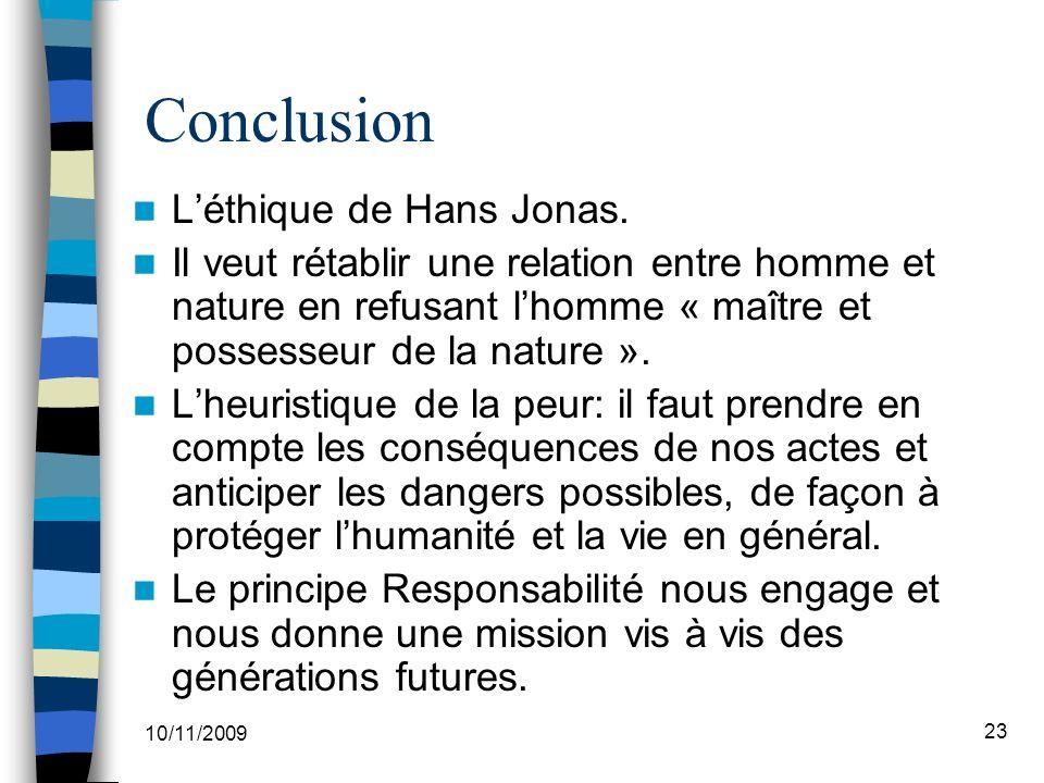 Conclusion L'éthique de Hans Jonas.