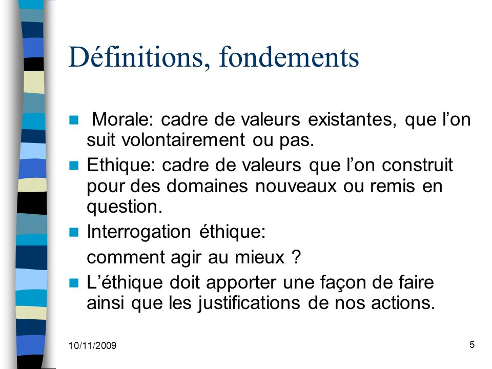 Définitions, fondements