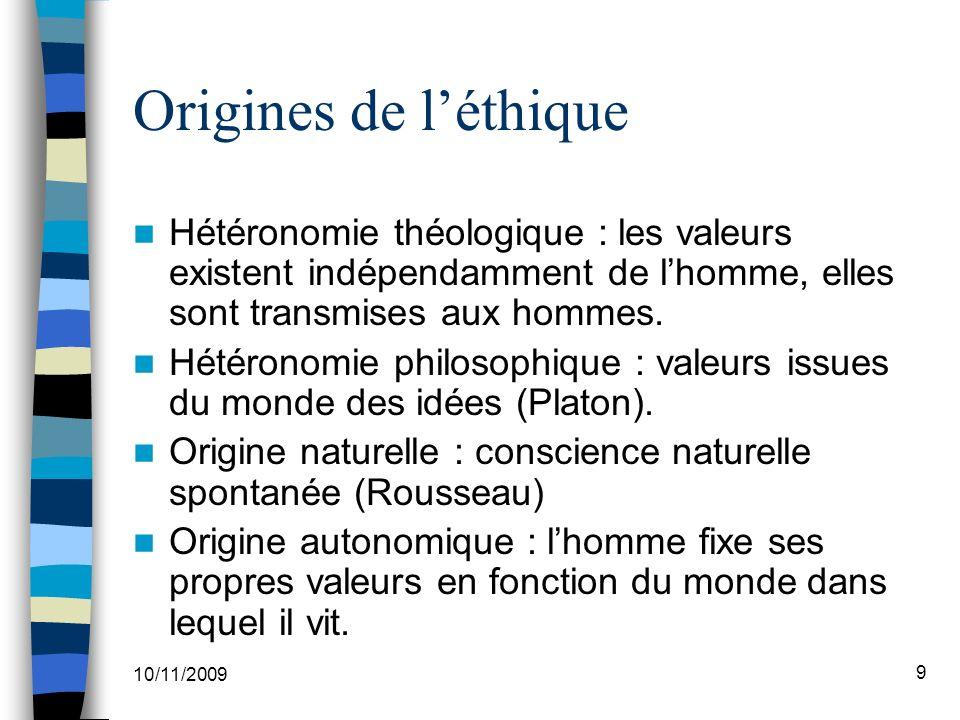 Origines de l'éthique Hétéronomie théologique : les valeurs existent indépendamment de l'homme, elles sont transmises aux hommes.