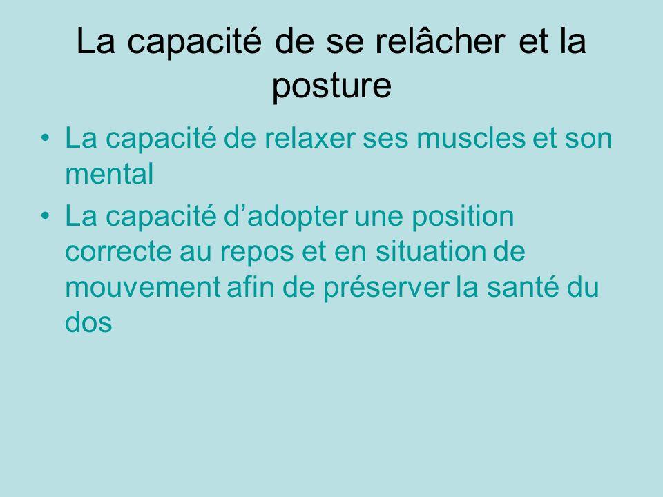 La capacité de se relâcher et la posture