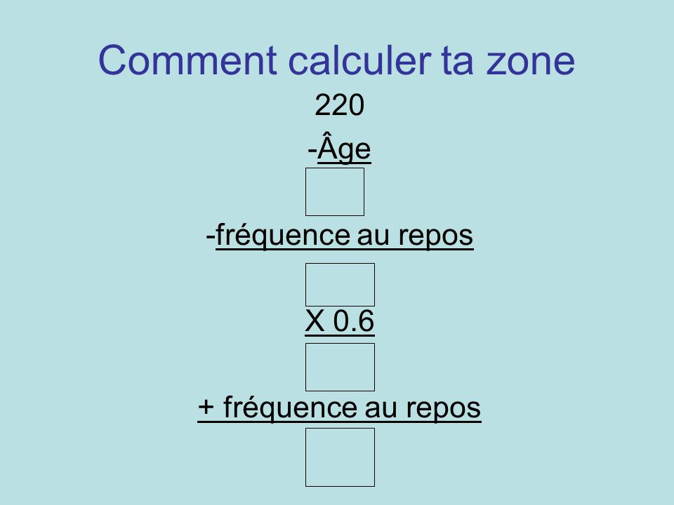 Comment calculer ta zone