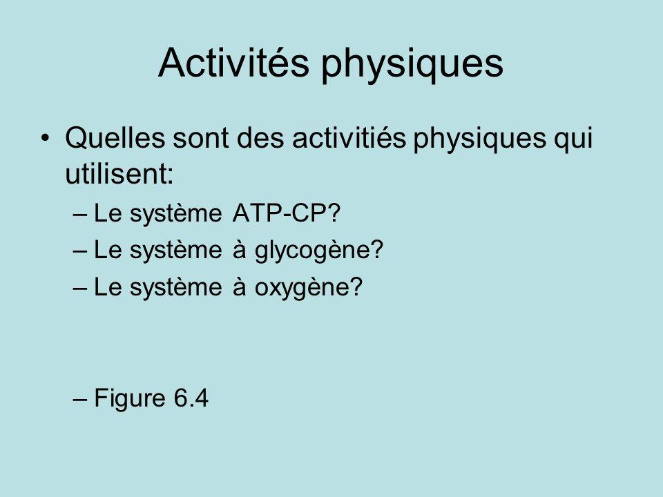 Activités physiques Quelles sont des activitiés physiques qui utilisent: Le système ATP-CP Le système à glycogène
