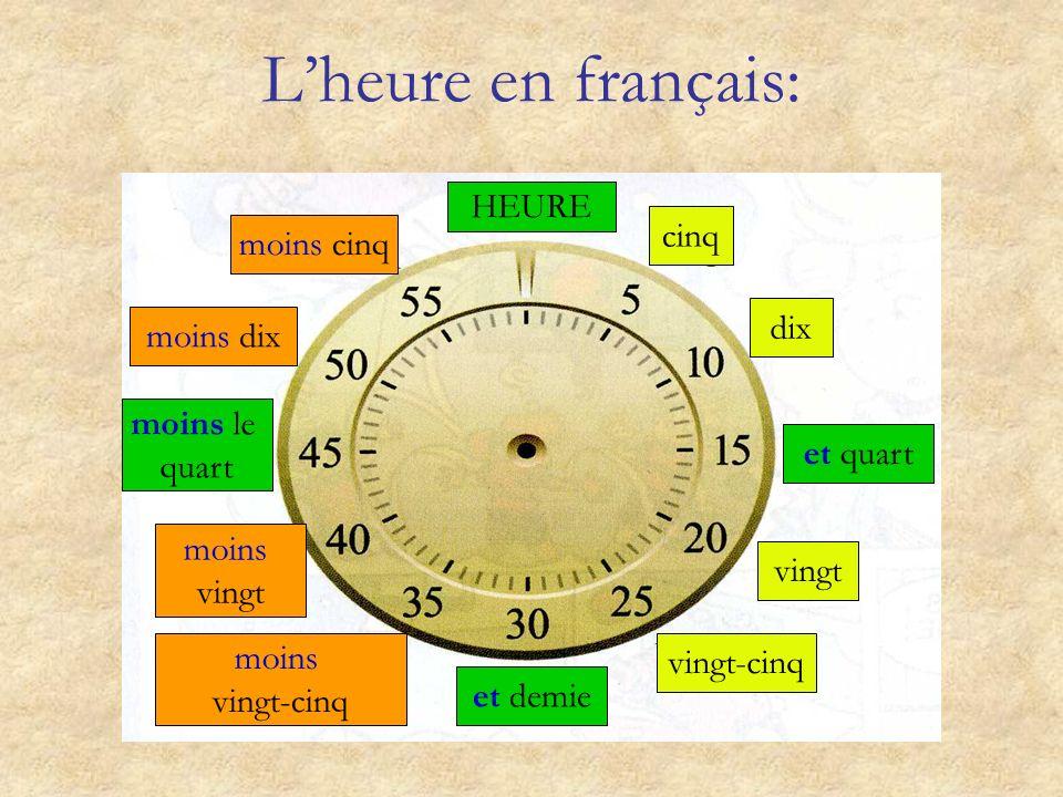 L'heure en français: HEURE cinq moins cinq dix moins dix moins le