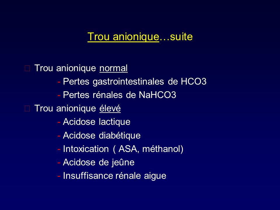 Trou anionique…suite Trou anionique normal