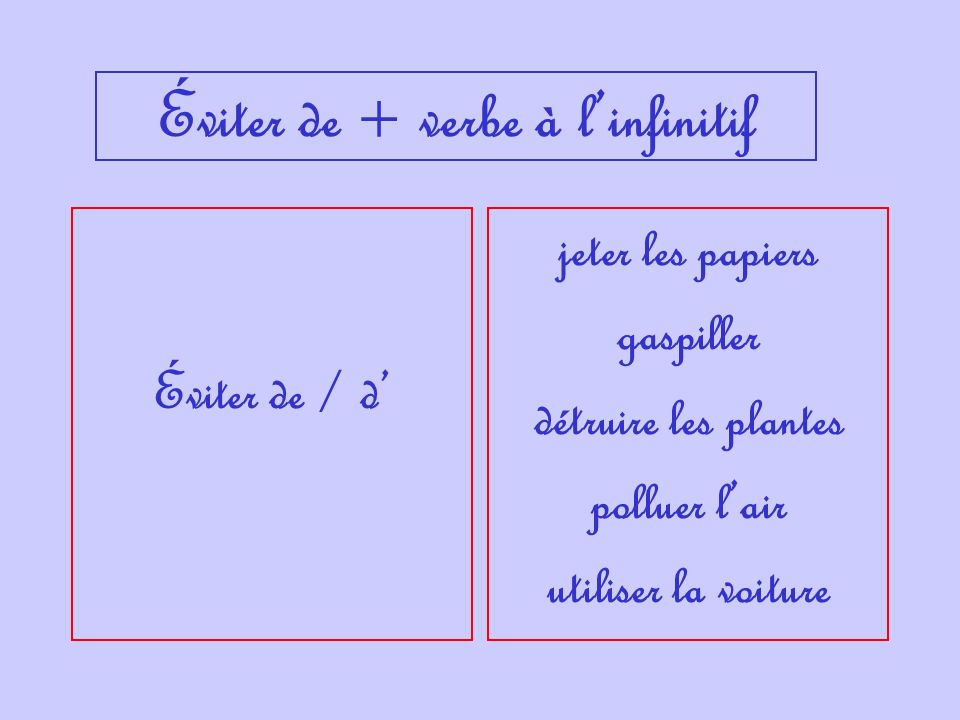 Éviter de + verbe à l'infinitif