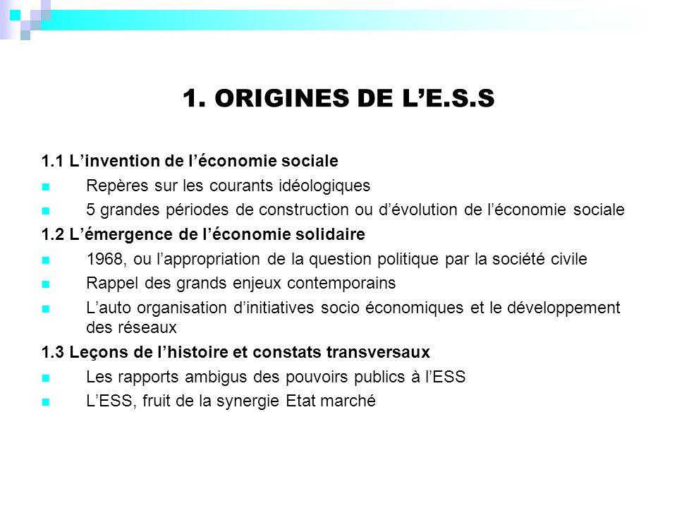 1. ORIGINES DE L'E.S.S 1.1 L'invention de l'économie sociale