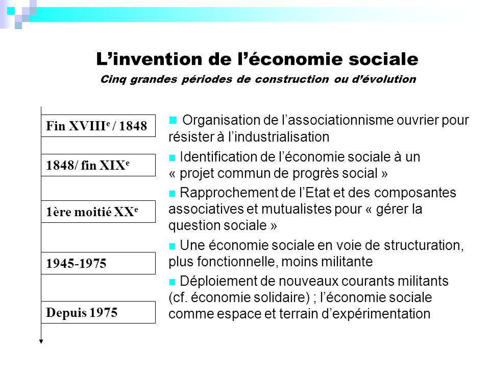 L'invention de l'économie sociale Cinq grandes périodes de construction ou d'évolution