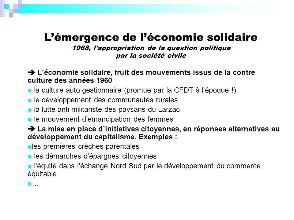 L'émergence de l'économie solidaire 1968, l'appropriation de la question politique par la société civile
