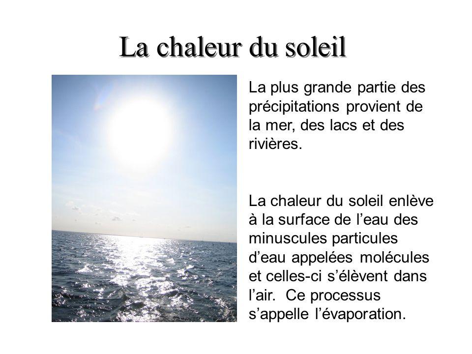 La chaleur du soleil La plus grande partie des précipitations provient de la mer, des lacs et des rivières.
