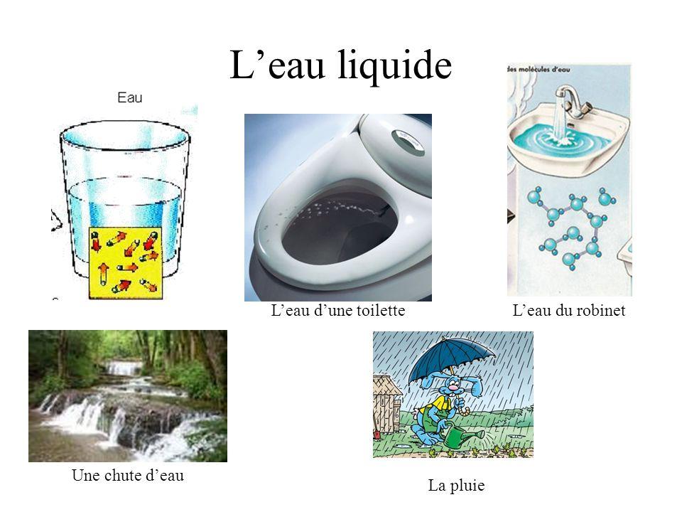 L'eau liquide L'eau d'une toilette L'eau du robinet Une chute d'eau