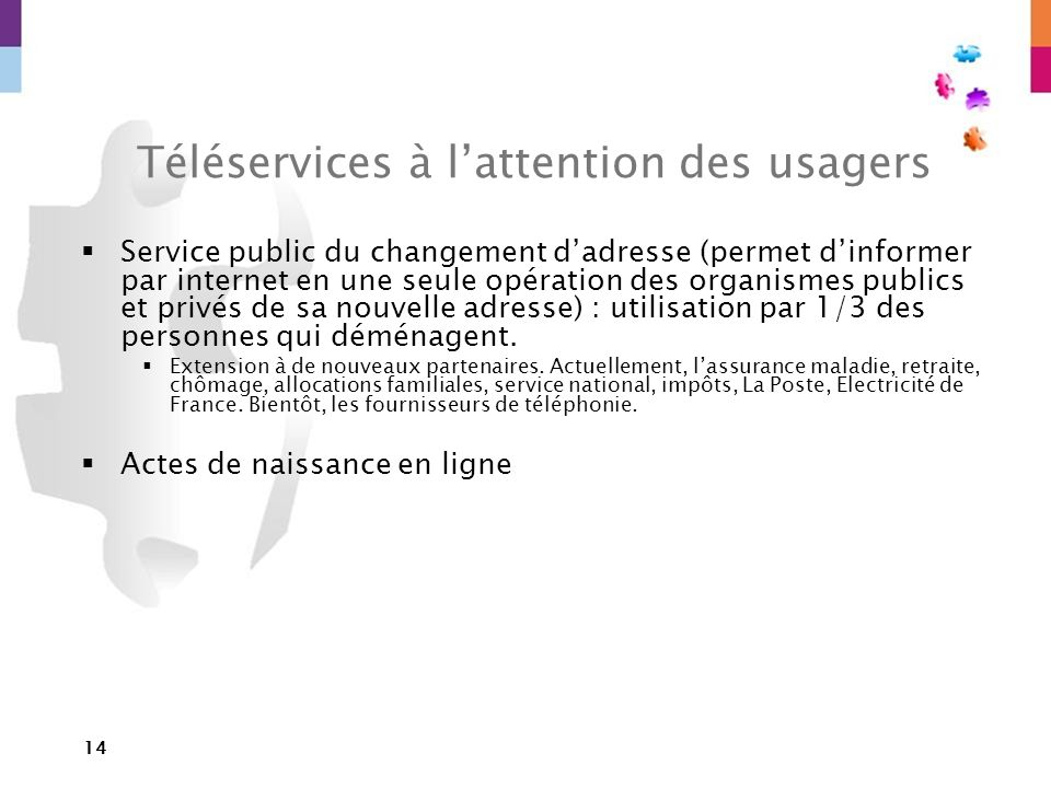 Téléservices à l'attention des usagers