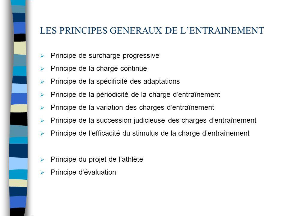 LES PRINCIPES GENERAUX DE L'ENTRAINEMENT