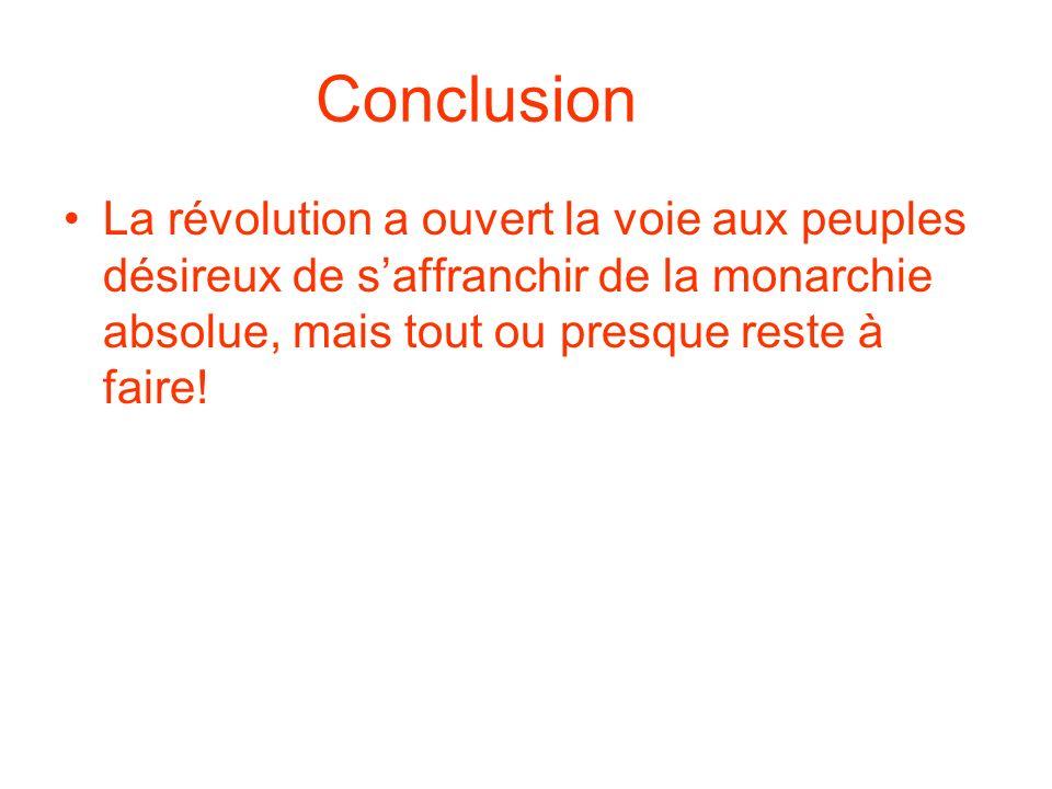 Conclusion La révolution a ouvert la voie aux peuples désireux de s'affranchir de la monarchie absolue, mais tout ou presque reste à faire!