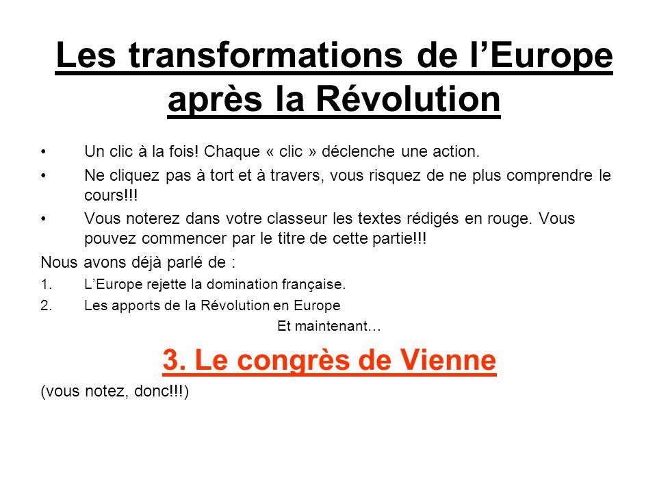 Les transformations de l'Europe après la Révolution