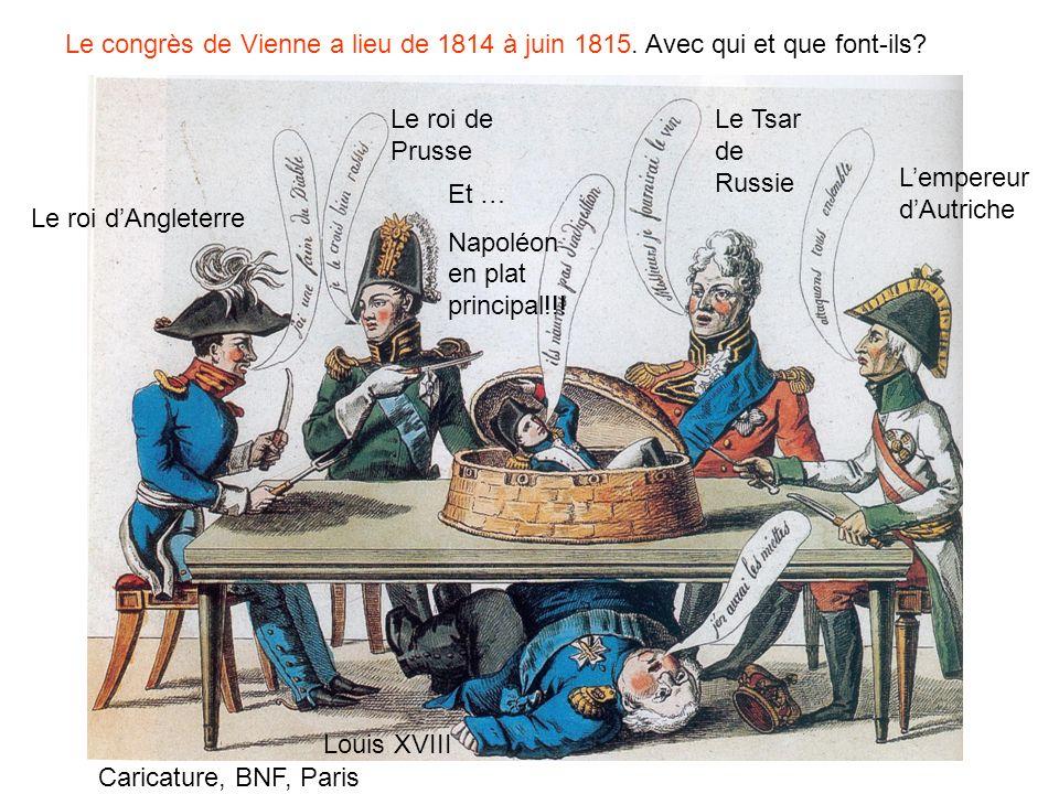 Le congrès de Vienne a lieu de 1814 à juin 1815