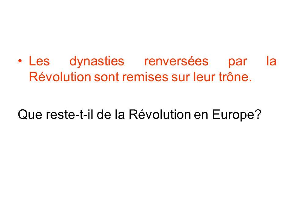 Les dynasties renversées par la Révolution sont remises sur leur trône.