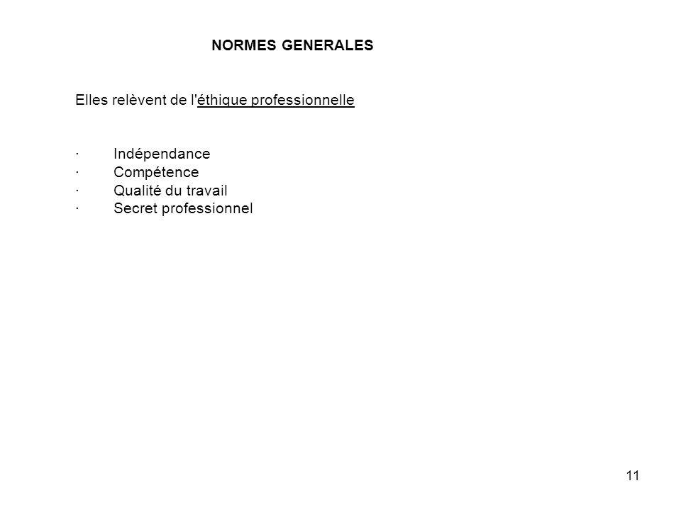 NORMES GENERALES Elles relèvent de l éthique professionnelle · Indépendance · Compétence · Qualité du travail · Secret professionnel