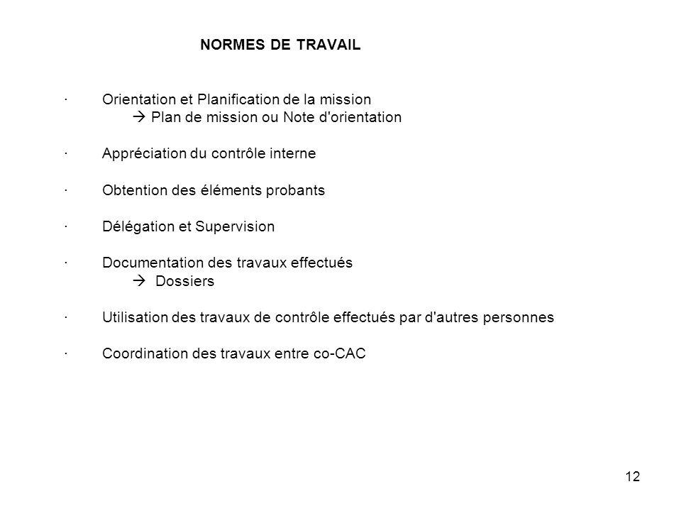 NORMES DE TRAVAIL · Orientation et Planification de la mission