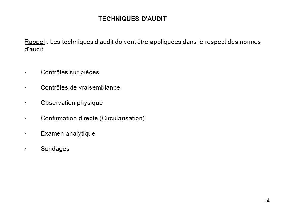 TECHNIQUES D AUDIT Rappel : Les techniques d audit doivent être appliquées dans le respect des normes d audit.